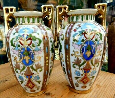 Noritake Vase Pair / Twin Handled / Art Deco / 1920s • 29.99£
