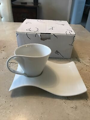 Villeroy & Boch New Wave Cup And Saucer, White • 9.50£