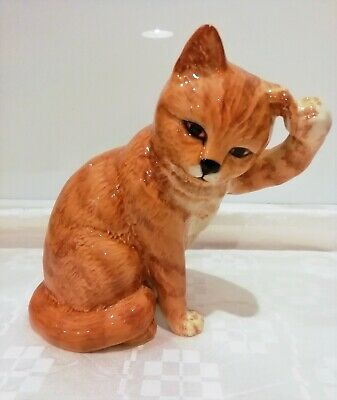 Early Beswick Cat Seated Scratching Ear Model No.1877. Ginger Striped 1965-1971  • 49.99£