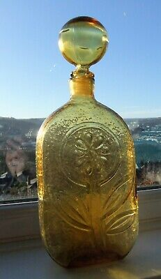 Vintage Amber Glass Italian Empoli Murano Genie Bottle Decanter With Stopper  • 37£