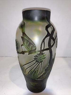 """Galle Inspired Art Glass Vase Art Nouveau 8"""" Etched Cameo Birds Trees Z Mark • 71.31£"""