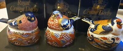 A Trio Of Royal Crown Derby Paperweights; BullFinch, Goldfinch & Chaffinch • 150£