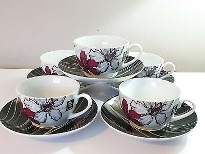 Royal Worcester China Lawrence Llewelyn Bowen 5 Tea Cups And Saucers Design Set. • 19.99£