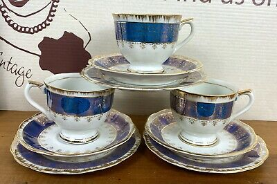 Vintage Blue Gold Trio China Tea Cup Saucer Plate FOREIGN 40s/50s Lustreware X 3 • 10£