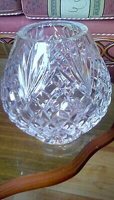 Tyrone Crystal Vase, Nice Shape And Pattern. Solid Heavy Piece Approx 14cm High. • 8.99£
