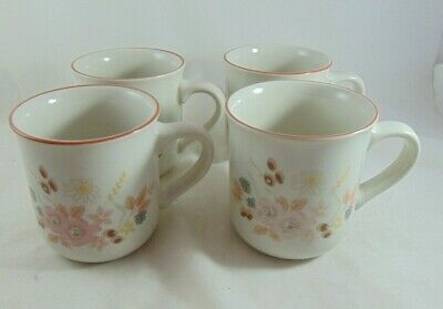 4 X  HEDGE ROSE  VINTAGE COFFEE MUGS BY BOOTS • 9.99£