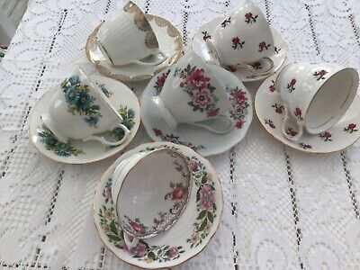 6 X Vintage China Tea Cups With Matching Saucers • 22£