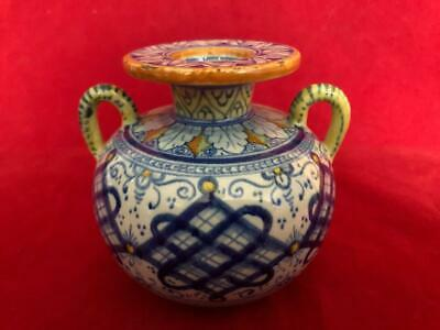 Good Antique Italian Cantagalli Majolica Hand Painted Two Handled Vase. • 9.99£