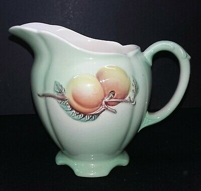 Vintage 1950s Royal Winton Grimwades Green Jug Creamer Decorated With Peaches • 3.99£
