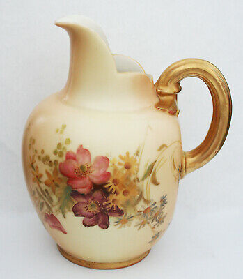 ROYAL WORCESTER HAND PAINTED FLAT BACK BLUSH IVORY JUG (C) 1906 6.25inches HIGH • 34.99£
