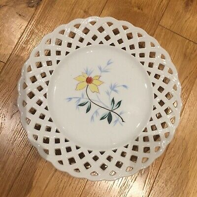 9inch Lattice Edge White Plate With Painted Flower • 2£