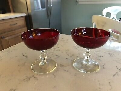~2~ VINTAGE Ruby Red Sherbet Champagne Glasses Tumblers Clear Ball Stem & Foot • 10.22£