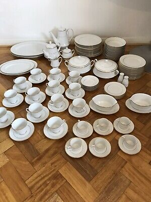 Huge Dinner Service Noritake Heritage 2982 Fine Bone China 86 Pieces White Gold  • 250£