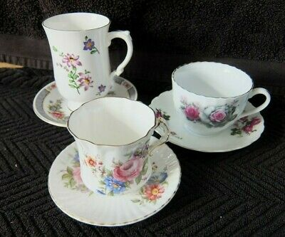 A Vintage Small Lot Of 3 Cups & 3 Saucers   Good Cond  For Age • 1.99£