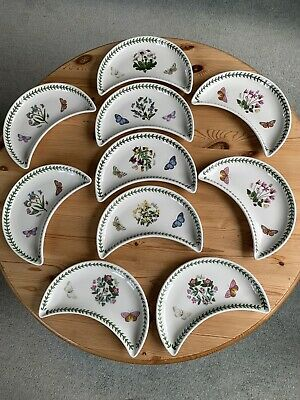 PORTMEIRION BOTANIC GARDENS 10 CRESCENT SHAPED DISHES Extremely Good Condition • 80£