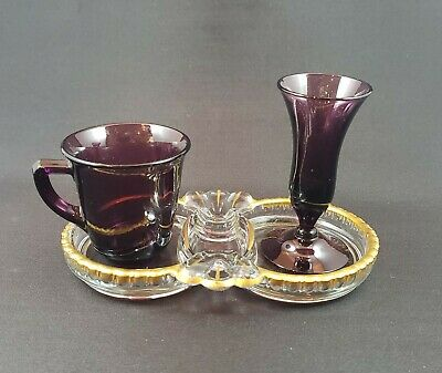 Cambridge Glass Demitasse - Cordial Set Amethyst With Gadroon Tray 1930s RARE • 84.71£