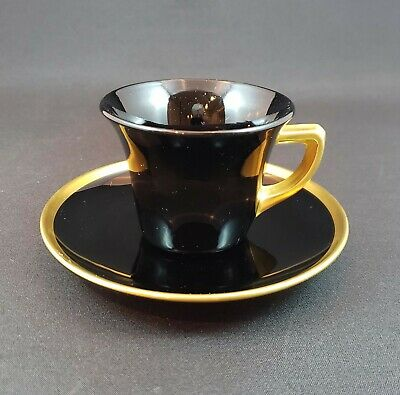 Cambridge Demitasse Cup/Saucer - Ebony And Gold - Round Line 1920s - 2 Available • 33.15£
