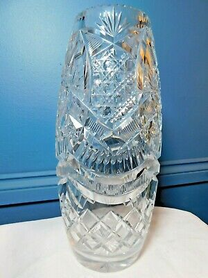 Large Cut Crystal Glass Vase / Stunning !! • 34.99£