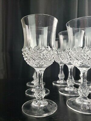 Lot Of 12 Cut Crystal Wine Glasses 7.25  Unmarked Excellent Condition  • 73.35£
