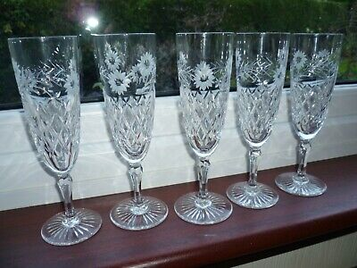 Edinburgh Crystal  Argyll  Champagne Flutes-set Of 5- All Perfect-unsigned • 90£