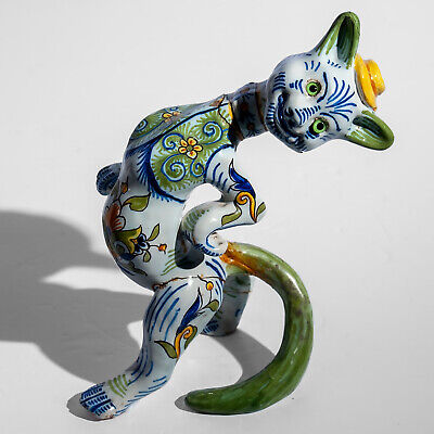 Vintage French Faience Cat Figurine 7.5  A/F • 224.99£