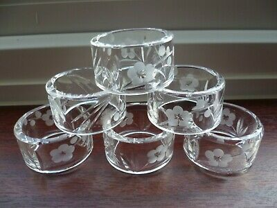 Royal Doulton Crystal Napkin Rings -set Of 6-perfect,signed-Chelsea? • 18£