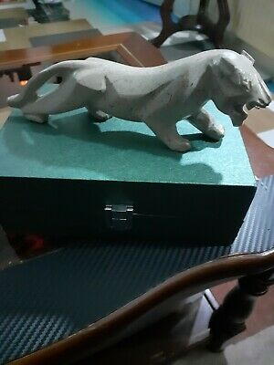 VINTAGE WHITE Tiger Marble FIGURE USED Good Condition  • 19.99£