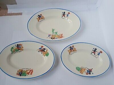 VINTAGE Hancocks  Ivory  3 Oval Plates Reducing Sizes1920s Rabbit Frogs  • 8£