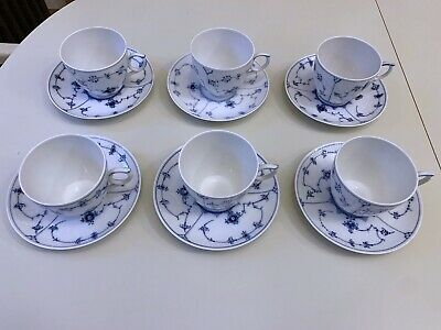 Royal Copenhagen Blue Fluted Half Lace Large Coffee Cups & Saucers 12 Items (6) • 485£