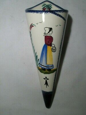 Vintage Quimper French Faience Unusual Ceramic Wall Pocket. • 10£