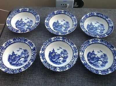 6 X Vintage Olde Alton Ware Blue & White Bowls Dishes Japanese Pagoda Willow • 4.50£