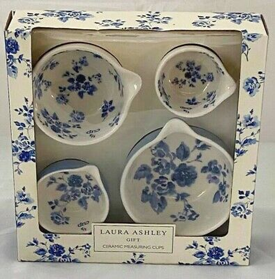 Laura Ashley Ceramic Blue & White Measuring Cups  Gift Set Bnib Mother's Day ? • 20£