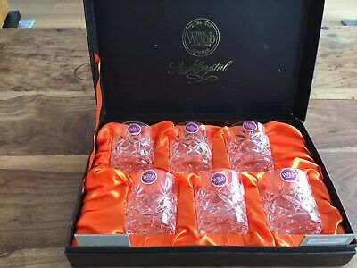 Webb Continental Hand Cut Lead Crystal 6 Whisky Glasses In Original Box • 10£
