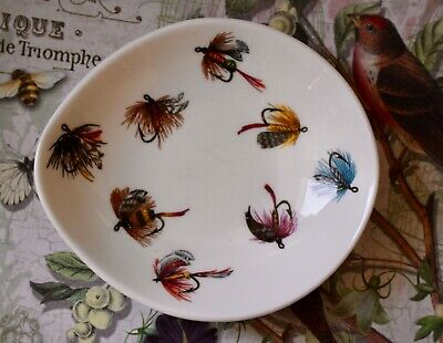 "Vintage Crown Staffordshire Trinket Dish. "" Fly Fishing Lures"" Queensberry • 6.99£"