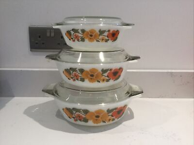 Set 3 X Vintage Pyrex Casserole Dishes With Glass Lids Pansy Pansies Mcm 60s 70s • 35£
