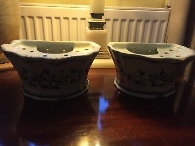 Faience Tulip Vases A Pair For Wall Hanging 19th Century • 39.99£