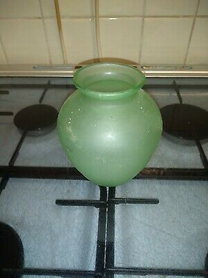 Frosted Green Glass Vase • 2£