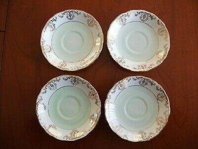 12 Royal Vale Saucers -  Green, Gold & White  • 8£