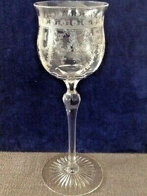 Beautiful, Bohemian Wine Glass,Engraved With Floral & Swags, Star Cut Foot. • 26£