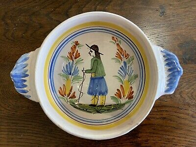 Early 19thC Henriot Quimper/Breton Large Faience Bowl • 85£