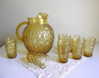 Ball Pitcher And 8 Juice Tumblers , Milano Lido Amber Glass , Anchor Hocking , B • 50£