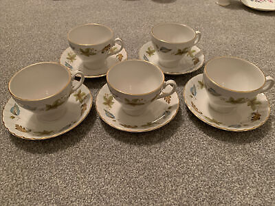 Sherwood Ridgway - White Mist Design 5 X Teacups And Saucers • 13.50£