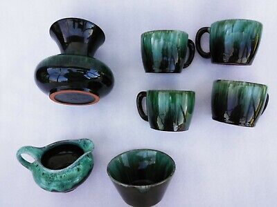 Blue Mountain Pottery BMP CREAMER & SUGAR, 4cups, One Vase  Green Blue Brown  • 30.72£