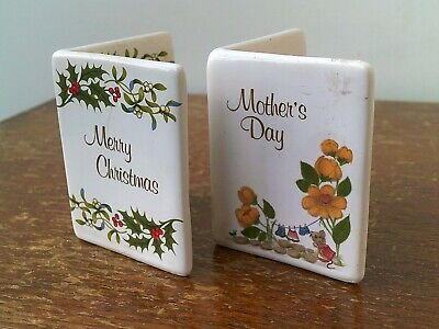 Two Vintage Miniature Porcelain Cards (Merry Christmas & Mothers Day). • 4.99£