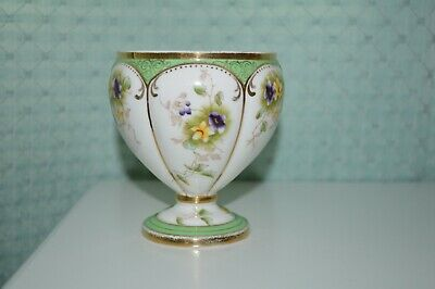 Antique Porcelain Green / White Rose Bowl, Hand Painted After Transfer • 12.99£