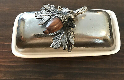 Vintage Acorn Butter Dish Porcelain And Metal One Of A Kind Unusual Gorgeous • 28.62£