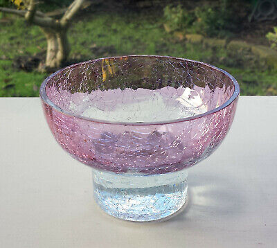 Small Pink & Clear Crackle Glass Bowl • 1.99£
