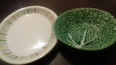 2 Modern Pieces (70's) Cabbage Leaf Pattern Bowl And Patterned Serving Plate • 20£