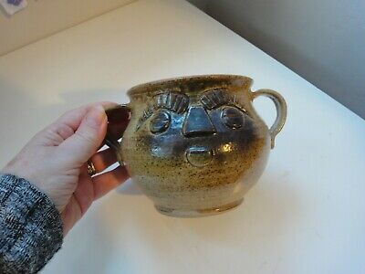 STUDIO Art POTTERY Face POT + HANDLES Unique One-Off Piece VGC Stamped On Side • 11.50£