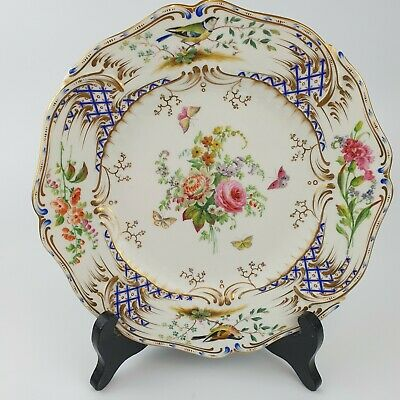Fine Antique 19th Century Chelsea Shaped Cabinet Plate Decorated With Flowers • 99£
